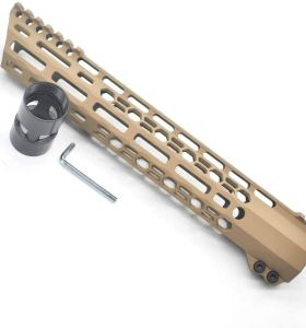 New Clamp style 12 inch Tan/ FDE M-LOK free float AR15 M16 M4 rifle handguard with a curve slant cut nose fit .223/5.56 rifles