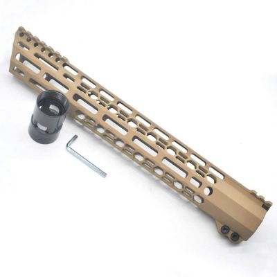 New Clamp style 13.5 inch Tan/ FDE M-LOK free float AR15 M16 M4 rifle handguard with a curve slant cut nose fit .223/5.56 rifles