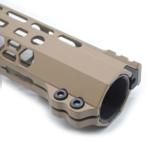 New Clamp style 15 inch Tan/ FDE M-LOK free float AR15 M16 M4 rifle handguard with a curve slant cut nose fit .223/5.56 rifles
