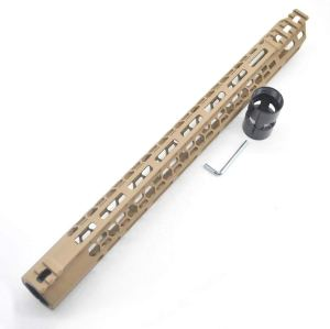 New Clamp style 17 inch Tan/ FDE M-LOK free float AR15 M16 M4 rifle handguard with a curve slant cut nose fit .223/5.56 rifles