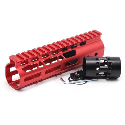 New NSR 7 Inch Length Red Free Floating M-LOK AR15 Handguard With Rail Mount Steel Barrel Nut