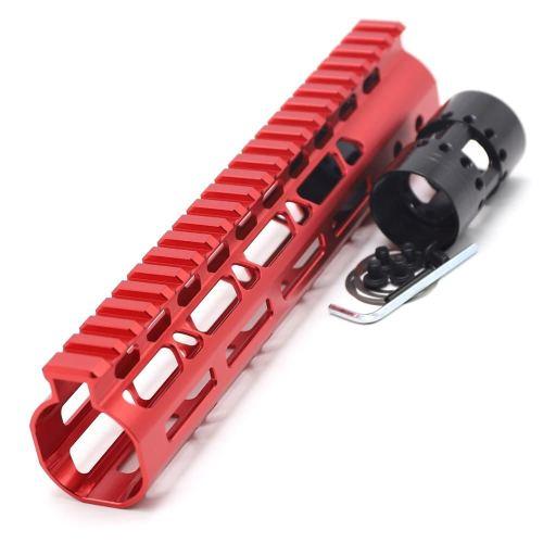 New NSR 9 Inch Length Red Free Floating M-LOK AR15 Handguard With Rail Mount Steel Barrel Nut
