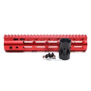 New NSR 10 Inch Length Red Free Floating M-LOK AR15 Handguard With Rail Mount Steel Barrel Nut