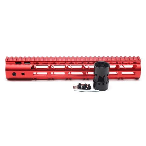 New NSR 12 Inch Length Red Free Floating M-LOK AR15 Handguard With Rail Mount Steel Barrel Nut