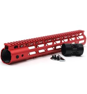 New NSR 13.5 Inch Length Red Free Floating M-LOK AR15 Handguard With Rail Mount Steel Barrel Nut