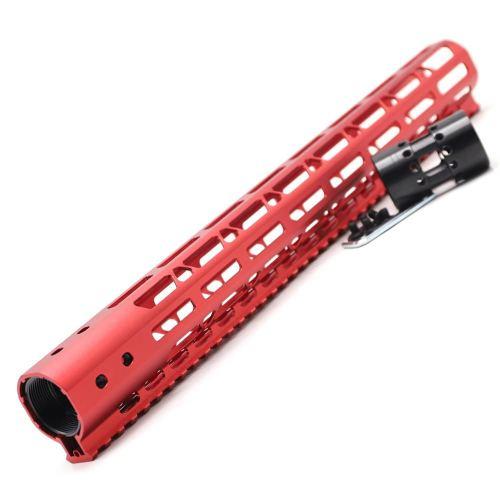New NSR 15 Inch Length Red Free Floating M-LOK AR15 Handguard With Rail Mount Steel Barrel Nut