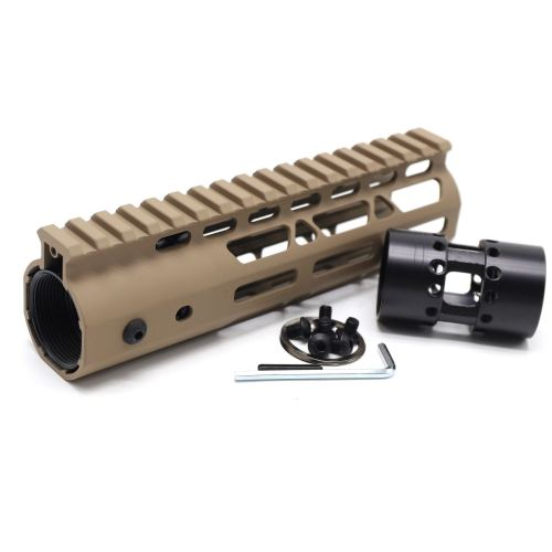 Trirock NSR Lightweight Tan/FDE 7 inch One Piece Style AR-15 System M-LOK Free Float AR15 Handguard with steel barrel nut