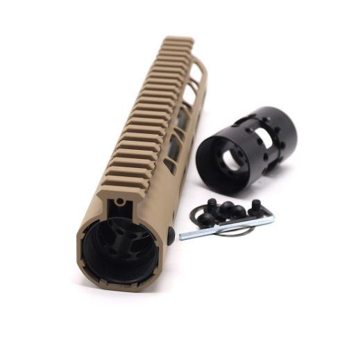 Trirock NSR Lightweight Tan/FDE 9 inch One Piece Style AR-15 System M-LOK Free Float AR15 Handguard with steel barrel nut