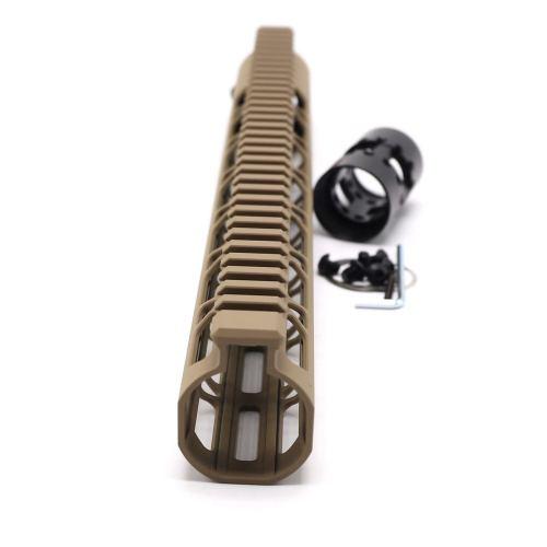 Trirock NSR Lightweight Tan/FDE 13.5 inch One Piece Style AR-15 System M-LOK Free Float AR15 Handguard with steel barrel nut