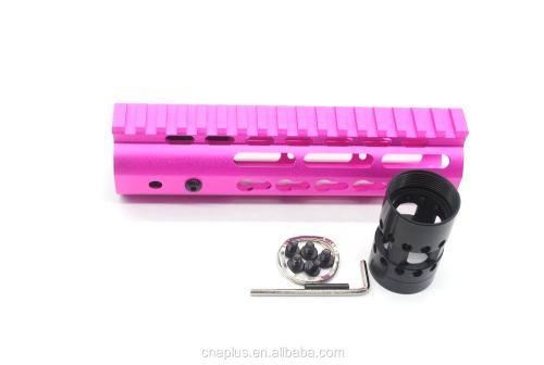 New NSR 7 Inch Length Pink Free Floating KeyMod AR15 Handguard With Rail Mount Steel Barrel Nut