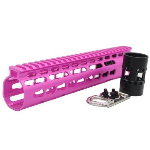 New NSR 10 Inch Length Pink Free Floating KeyMod AR15 Handguard With Rail Mount Steel Barrel Nut