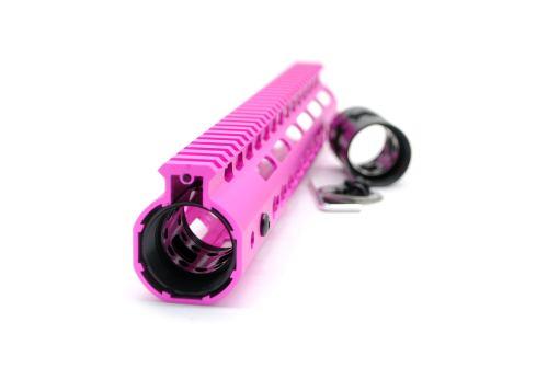 New NSR 12 Inch Length Pink Free Floating KeyMod AR15 Handguard With Rail Mount Steel Barrel Nut