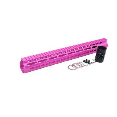 New NSR 15 Inch Length Pink Free Floating KeyMod AR15 Handguard With Rail Mount Steel Barrel Nut