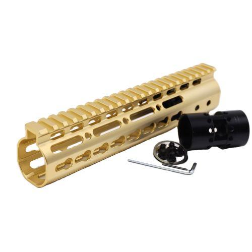 Gold NSR 9 Inch Free Float KeyMod AR15 AR-15 Handguard with Rail Mounted Steel Barrel Nut fit .223 5.56 rifles