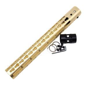 Gold NSR 13.5 Inch Free Float KeyMod AR15 AR-15 Handguard with Rail Mounted Steel Barrel Nut fit .223 5.56 rifles
