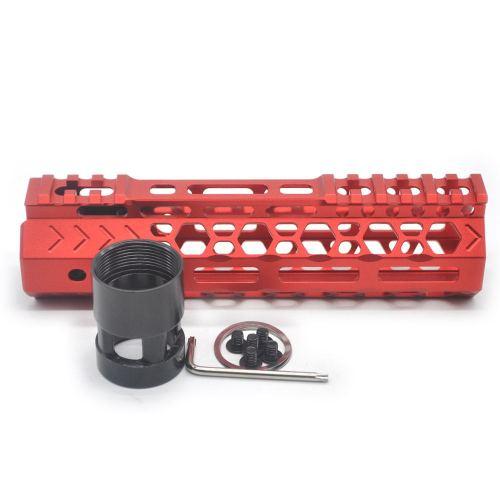 Aplus NSR style Red 7 inch M-LOK free float AR15 handguard mlok bevel edge fits .223/5.56 rifles with steel barrel nut