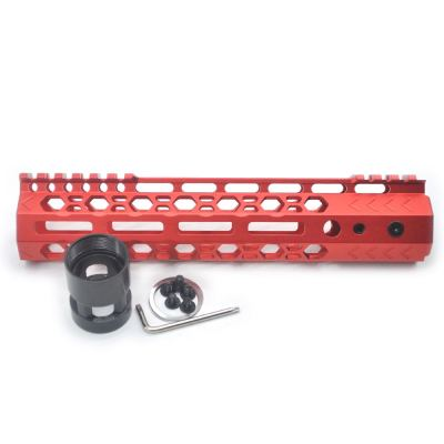 Aplus NSR style Red 9 inch M-LOK free float AR15 handguard mlok bevel edge fits .223/5.56 rifles with steel barrel nut