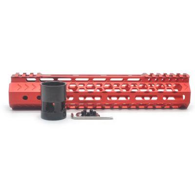 Aplus NSR style Red 10 inch M-LOK free float AR15 handguard mlok bevel edge fits .223/5.56 rifles with steel barrel nut