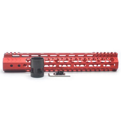 Aplus NSR style Red 12 inch M-LOK free float AR15 handguard mlok bevel edge fits .223/5.56 rifles with steel barrel nut