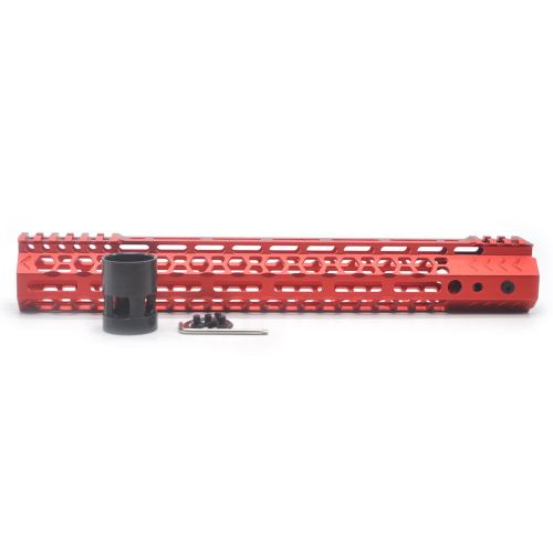 Aplus NSR style Red 13.5 inch M-LOK free float AR15 handguard mlok bevel edge fits .223/5.56 rifles with steel barrel nut