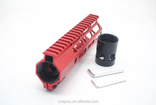 Clamp On Red Tactical 7 inch M-LOK handguard for AR15 M4 M16 with Steel Barrel Nut fits .223/5.56 rifles