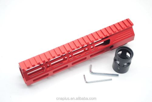 Clamp On Red Tactical 9 inch M-LOK handguard for AR15 M4 M16 with Steel Barrel Nut fits .223/5.56 rifles