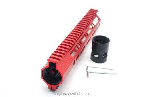 Clamp On Red Tactical 10 inch M-LOK handguard for AR15 M4 M16 with Steel Barrel Nut fits .223/5.56 rifles