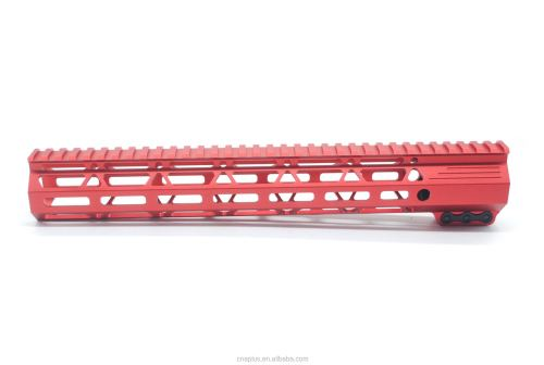Clamp On Red Tactical 13.5 inch M-LOK handguard for AR15 M4 M16 with Steel Barrel Nut fits .223/5.56 rifles