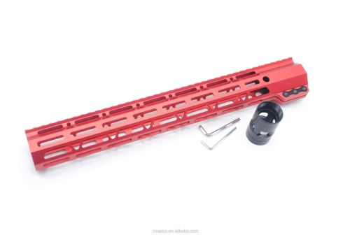 Clamp On Red Tactical 15 inch M-LOK handguard for AR15 M4 M16 with Steel Barrel Nut fits .223/5.56 rifles