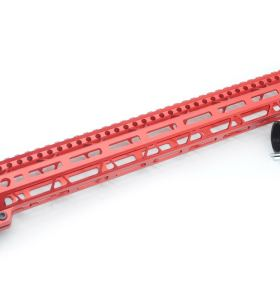Clamp On Red Tactical 17 inch M-LOK handguard for AR15 M4 M16 with Steel Barrel Nut fits .223/5.56 rifles