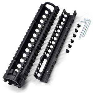 TRIROCK Two-pieces design 9.6 inch Drop-in Black Quad Rail handguard for MK18 Rifle interface system For Fitting .223 cal.