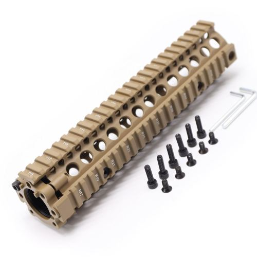 TRIROCK Two-pieces design 9.6 inch Drop-in Tan/FDE Quad Rail handguard for MK18 Rifle interface system For Fitting .223 cal.