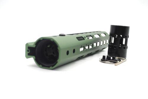 New NSR 9 Inch Length Olive drab green Free Floating KeyMod AR15 Handguard With Rail Mount Steel Barrel Nut