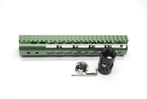 New NSR 10 Inch Length Olive drab green Free Floating KeyMod AR15 Handguard With Rail Mount Steel Barrel Nut