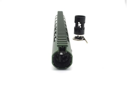 New NSR 13.5 Inch Length Olive drab green Free Floating KeyMod AR15 Handguard With Rail Mount Steel Barrel Nut
