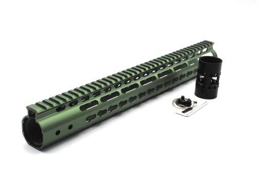 New NSR 15 Inch Length Olive drab green Free Floating KeyMod AR15 Handguard With Rail Mount Steel Barrel Nut