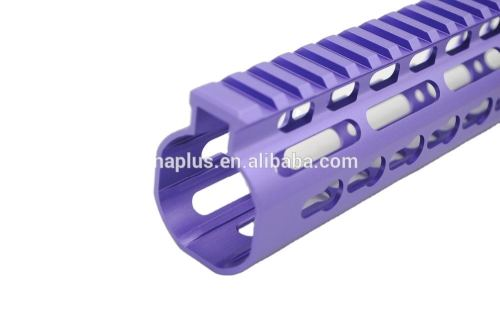 New NSR 15 Inch Length Purple Free Floating KeyMod AR15 Handguard With Rail Mount Steel Barrel Nut