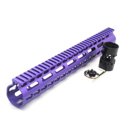 New NSR 13.5 Inch Length Purple Free Floating KeyMod AR15 Handguard With Rail Mount Steel Barrel Nut