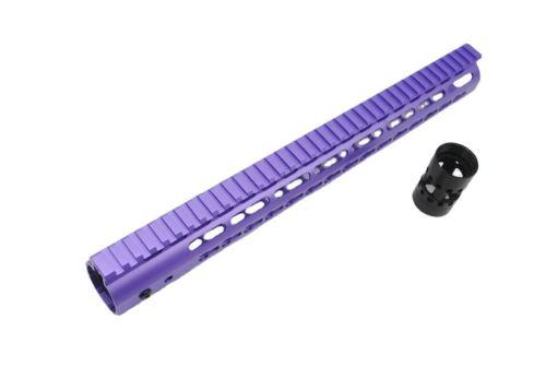 Aplus NSR Style Purple 12 inch Free Float Keymod AR15 Handguard with Steel Barrel Nut
