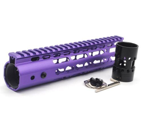 New NSR 9 Inch Length Purple Free Floating KeyMod AR15 Handguard With Rail Mount Steel Barrel Nut