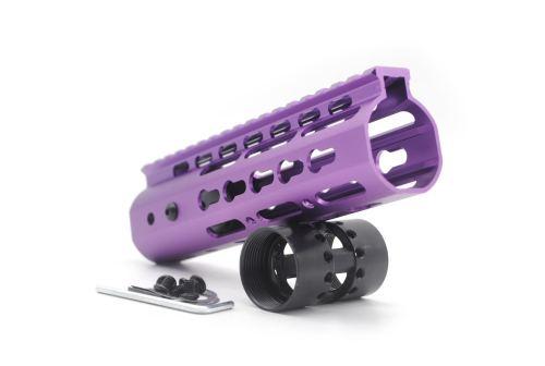New NSR 7 Inch Length Purple Free Floating KeyMod AR15 Handguard With Rail Mount Steel Barrel Nut