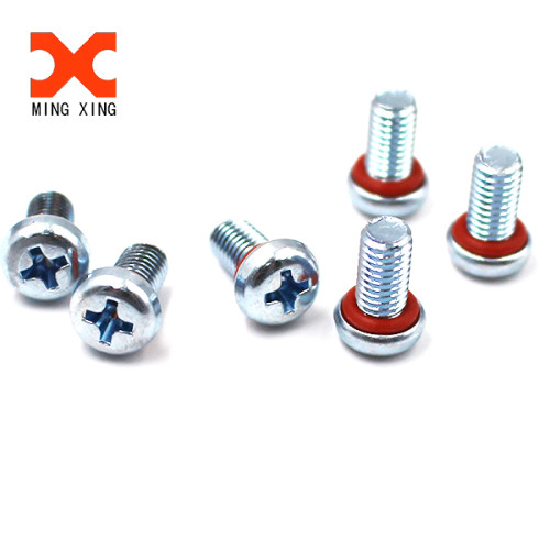 Zinc plated phillips pan head machine screw with rubber ring