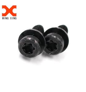 Black oxide cheese head six lobe slotted sems machine screw