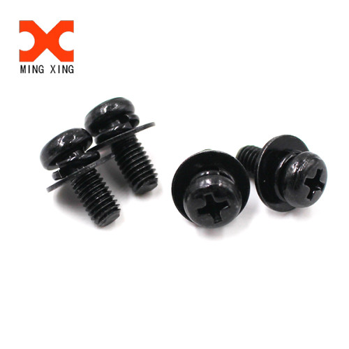 Yuhuang black nickel plated sems screw with spring washer and flat washer