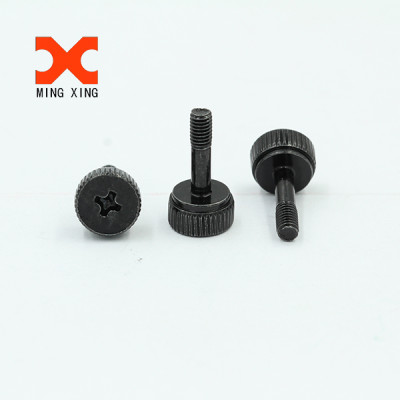 White knurled flat head thumb screw