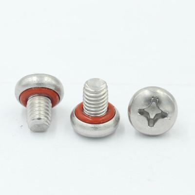 Steel Nickle plated M3X6 Pan philip O ring self sealing screw