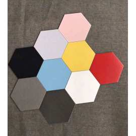 Black decoartive hexagon tilesfor workshop