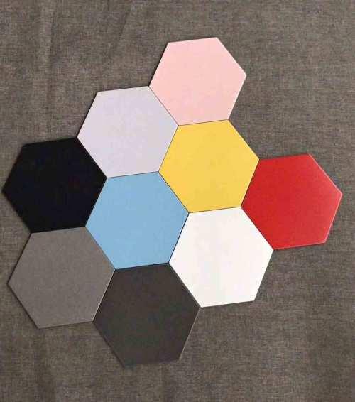 Black decoartive hexagon tilesfor workshop