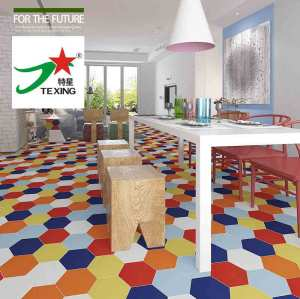 Black hexagon terracotta floor tile for workshop