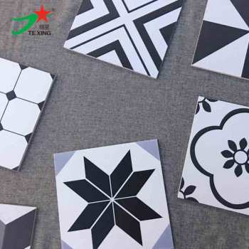 300X300 black and white color designs tiles with Rustic tile body